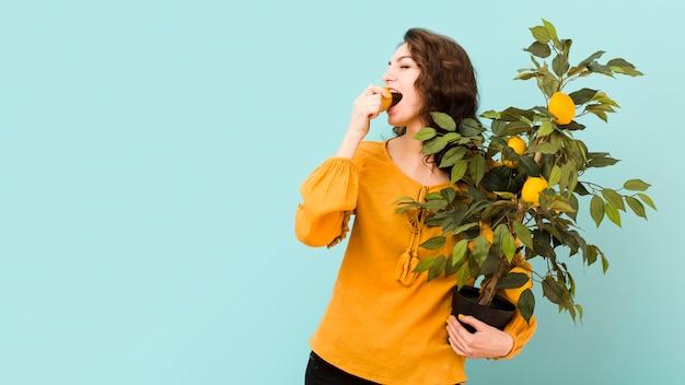 木を保持している美しい女性