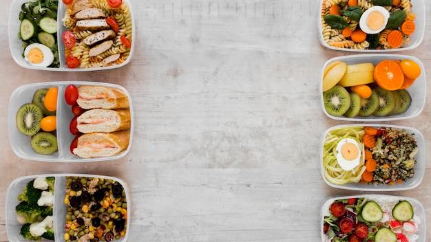 Вид сверху рамки вкусной еды