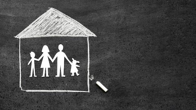黒板のトップビュー家族概念