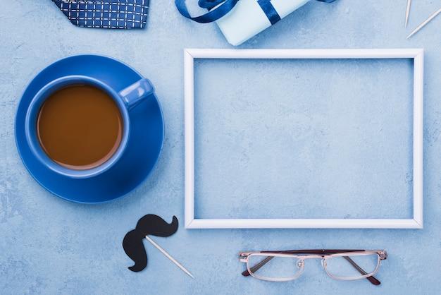 Кофе на день отца с рамкой копией пространства