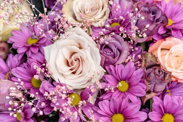色とりどりの花のクローズアップの品揃え