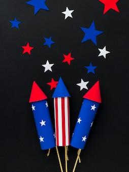 Вид сверху на день независимости фейерверк со звездами