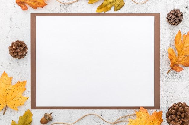 Вид сверху пустого меню с шишками и листьями