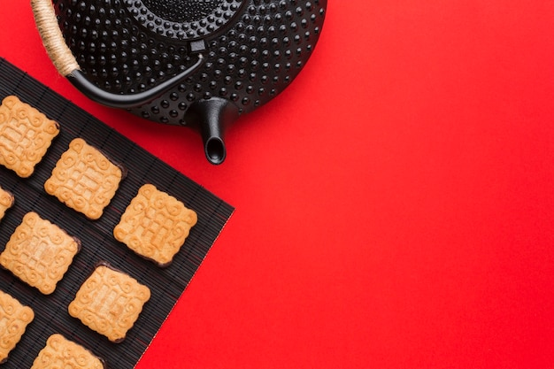 Вид сверху домашнее печенье с копией пространства