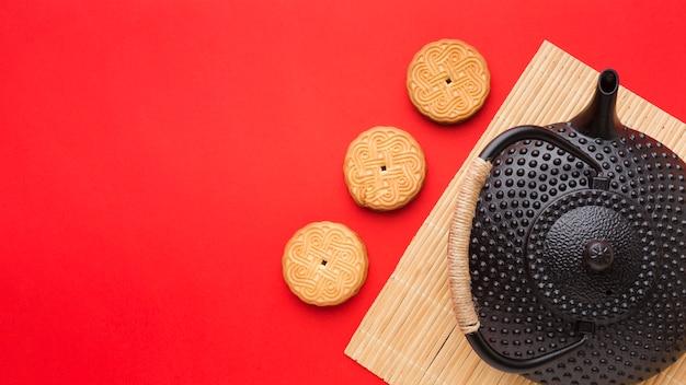 コピースペースを持つトップビュー自家製クッキー