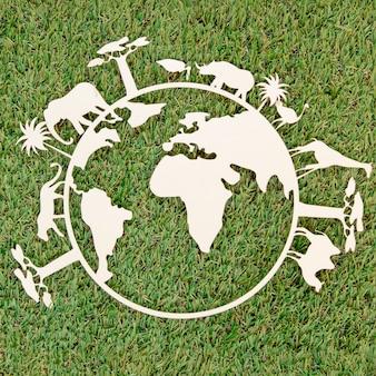 草の上の世界環境の日木製オブジェクト