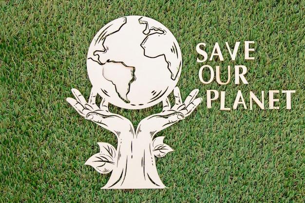 世界環境の日木製オブジェクトにレタリング