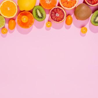トップビューエキゾチックフルーツのおいしいコレクション