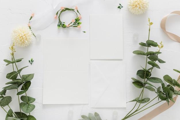 コピースペースと結婚式のコンセプトのフラットレイアウト