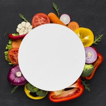 コピースペースを持つ野菜の概念のトップビュー