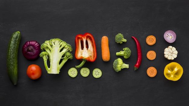 野菜のコンセプトアレンジのフラットレイアウト