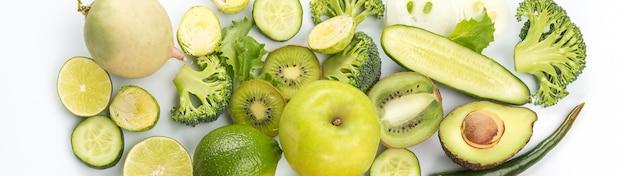 エキゾチックなフルーツとグリーン野菜