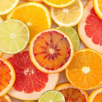 柑橘系の果物のクローズアップスライス