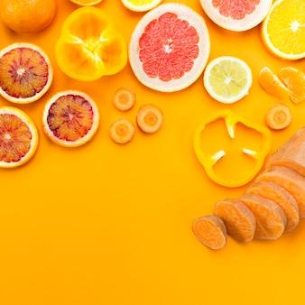 柑橘系の果物のスライスフラット