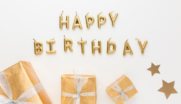 ギフトとのパーティーのための幸せな誕生日メッセージ