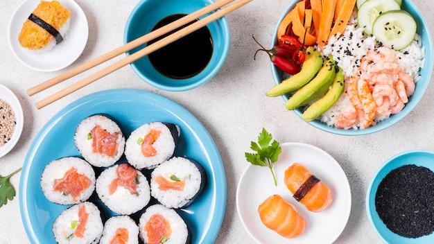 Плоские свежие суши