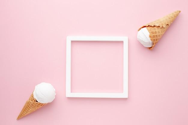 トップビューフレームとアイスクリーム