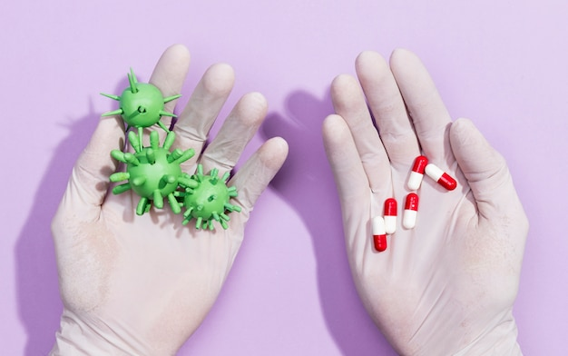 細菌のための薬と一緒に手