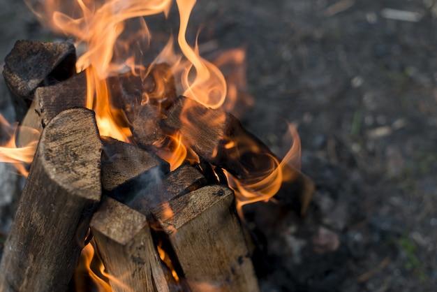 たき火からのクローズアップの炎