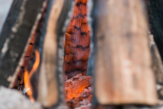 クローズアップたき火の炎