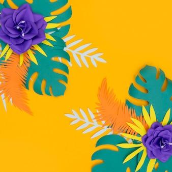 色とりどりの花と紙のスタイルの葉