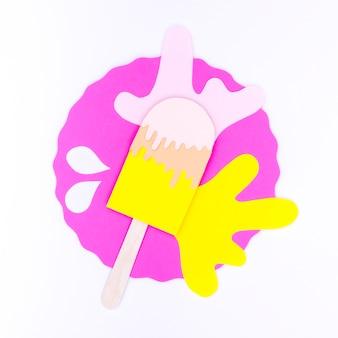 Разноцветное мороженое в бумажном стиле с орнаментом