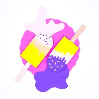 Красочное мороженое в бумажном стиле на столе