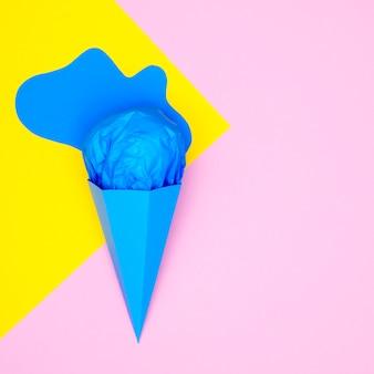 コーンのトップビューアイスクリーム