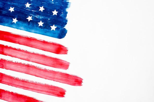 コピースペースを持つ平面図水彩アメリカ国旗