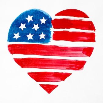 Вид сверху акварель в форме сердца с флагом сша