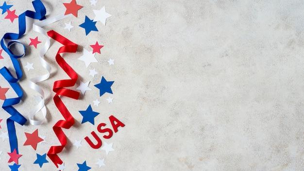 Вид сверху сша флаг звезды и ленты с копией пространства