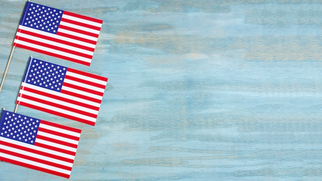 Вид сверху сша флаги с копией пространства