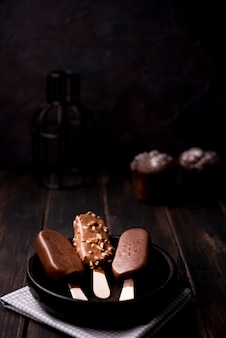 クローズアップチョコレート味のアイスクリーム