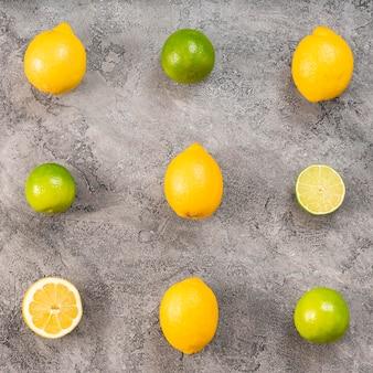 漆喰背景に柑橘類