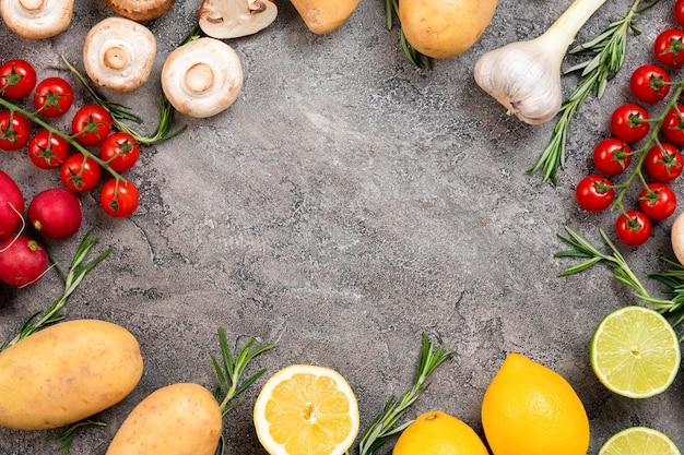 Вид сверху круглая пищевая рамка