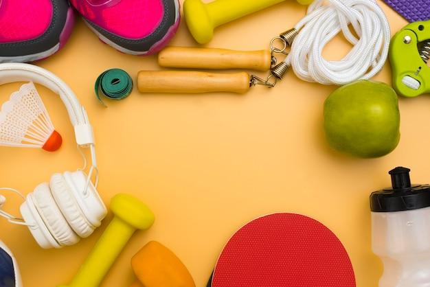 Плоская планировка спортивных товаров и наушников