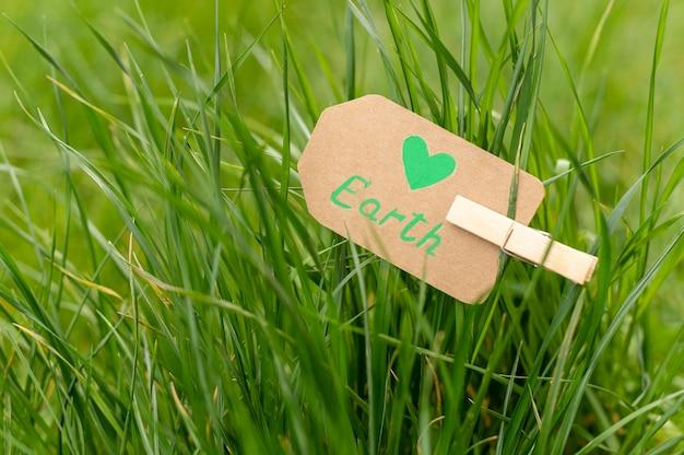 Знак земли крупным планом в траве