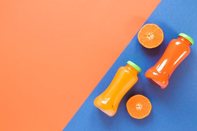 コピースペースとオレンジのスムージー