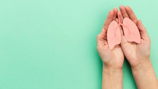 手の中の肺の形