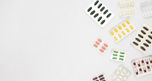 コピースペースを持つ錠剤箔のトップビュー
