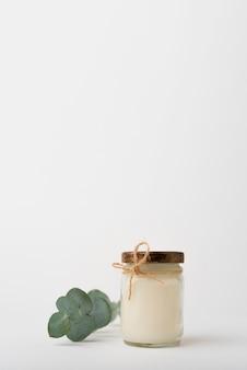キャンドルと正面の緑の葉の概念