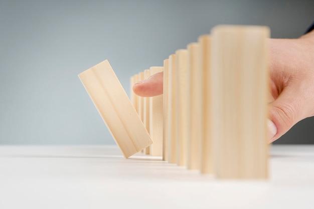 クローズアップの木製ブロック