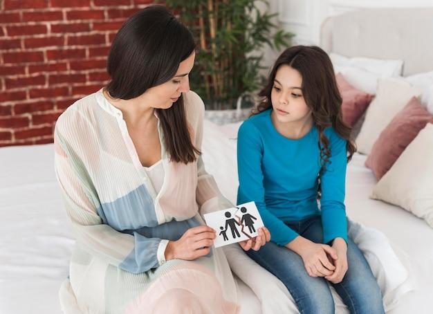 Мать обсуждает развод с дочерью