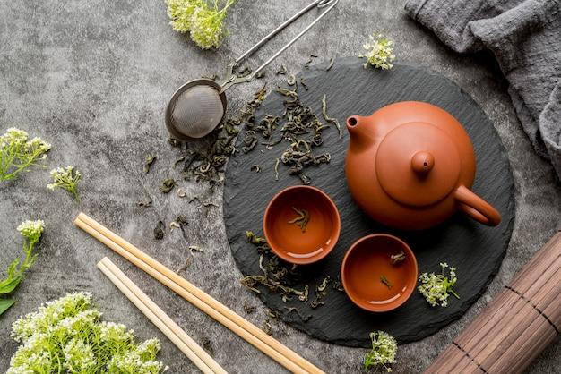 Поднос с чайником и чашками