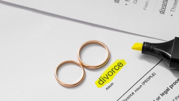 マーカーで強調表示された離婚名詞