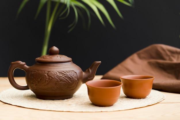 Вид спереди с чайником и чайной чашкой
