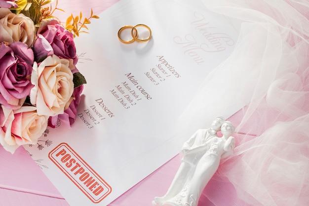 コロナウイルスのために結婚式が中断された