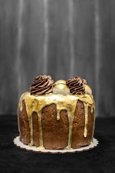コピースペースとおいしいチョコレートケーキの正面図