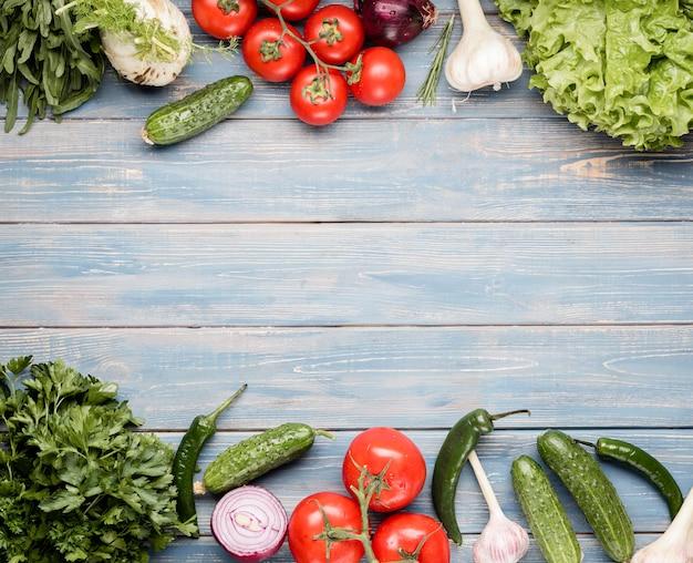 新鮮な野菜のスペースフレームをコピーする