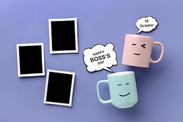Взгляд сверху счастливой концепции дня босса
